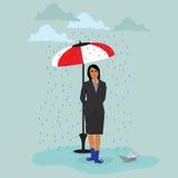Affärskvinna med det pappers- skeppet under paraplyet under regn, vektorillustration Arkivbild