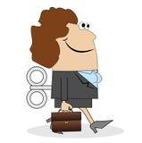 Affärskvinna med en portfölj och en tangent vektor illustrationer
