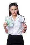 Affärskvinna med eurosedlar Royaltyfri Foto
