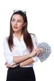 Affärskvinna med eurosedlar Royaltyfri Bild