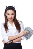 Affärskvinna med eurosedlar Arkivbild