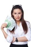 Affärskvinna med eurosedlar Arkivfoto