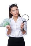 Affärskvinna med eurosedlar Fotografering för Bildbyråer