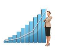 Affärskvinna med färgrika diagram 3d Fotografering för Bildbyråer