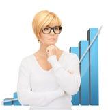 Affärskvinna med färgrika diagram 3d Royaltyfri Foto