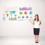 Affärskvinna med färgrika grafer och diagram Arkivbilder