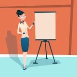 Affärskvinna med Flip Chart Seminar Training Conference idékläckningpresentation royaltyfri illustrationer
