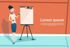 Affärskvinna med Flip Chart Seminar Training Conference idékläckningpresentation stock illustrationer