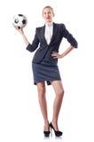 Affärskvinna med fotboll Arkivfoton