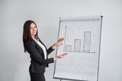 Affärskvinna med grafen i regeringsställning och att peka på diagrammet royaltyfria foton