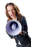 Affärskvinna med högtalare Royaltyfria Foton