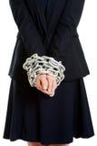 Affärskvinna med handbojor Royaltyfri Fotografi