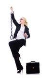 Affärskvinna med kedjan Royaltyfri Foto