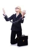 Affärskvinna med kedjan Royaltyfria Bilder