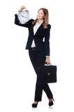 Affärskvinna med klockan Arkivfoto