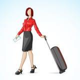 Affärskvinna med lopppåsen Arkivbild