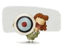 Affärskvinna med målet. Stock Illustrationer