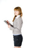Affärskvinna med mappen Arkivfoton