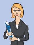 Affärskvinna med mappen vektor illustrationer