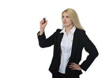 Affärskvinna med markören Arkivbilder