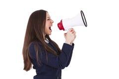 Affärskvinna med megafonen Royaltyfri Bild