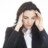 Affärskvinna med nödattack Arkivfoto