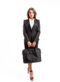 Affärskvinna med portföljen Arkivbild