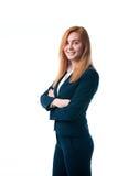 Affärskvinna med rött hår royaltyfri foto