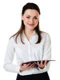 Affärskvinna med rapporten Royaltyfri Foto