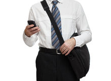 Affärskvinna med telefonen och poltfelem Royaltyfri Fotografi