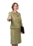 Affärskvinna med tum upp Royaltyfria Bilder