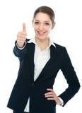 Affärskvinna med tumen upp Fotografering för Bildbyråer