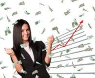 Affärskvinna och grafiskt diagram royaltyfria bilder