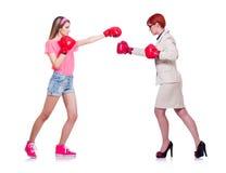 Affärskvinna- och idrottsmanboxningen på Arkivbilder