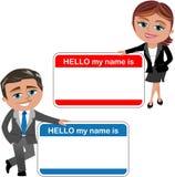 Affärskvinna och man som introducerar Theirself royaltyfri illustrationer