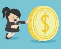 Affärskvinna- och pengarmynt royaltyfri illustrationer