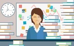 Affärskvinna Overloaded med arbete Royaltyfri Illustrationer