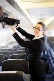 Affärskvinna på flygplan royaltyfri foto