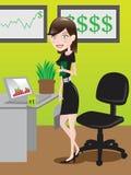 Affärskvinna på kontoret/illustrationen Arkivbilder