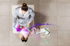 Affärskvinna på stol Fotografering för Bildbyråer