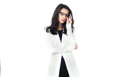 Affärskvinna på vit bakgrund arkivfoton