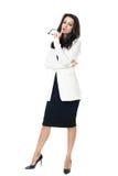Affärskvinna på vit bakgrund royaltyfria bilder