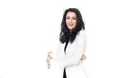 Affärskvinna på vit bakgrund royaltyfri bild