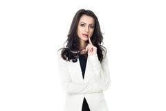 Affärskvinna på vit bakgrund royaltyfri fotografi