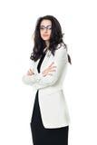 Affärskvinna på vit bakgrund arkivfoto