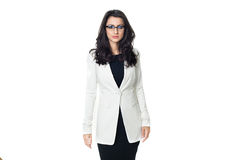 Affärskvinna på vit bakgrund med exponeringsglas fotografering för bildbyråer
