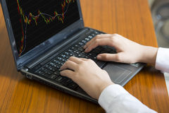 Affärskvinna som analyserar tillväxt med bärbara datorn Arkivfoton
