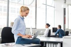 Affärskvinna som använder bärbar dator arkivbild