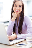 Affärskvinna som använder bärbara datorn arkivfoton