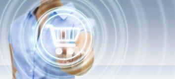 Affärskvinna som använder den digitala tolkningen för betalningmanöverenhet 3D Royaltyfria Foton